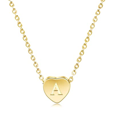 47ec4f45c Gold Initial Heart Necklace-14K Gold Plated Stainless Steel Heart Letter  Necklace, Dainty Personalized