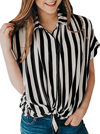 25c55b5028 SySea Womens Striped Button up Knot Front Shirt Summer Turndown Collar  Short Sleeve Blouses