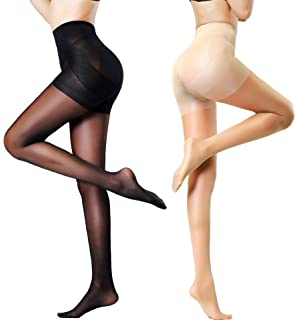 c6d0f28f4 MERYLURE 2 Pairs Women s Semi Opaque Shaping Pantyhose Control Top Push Up  Tights Compression Stockings