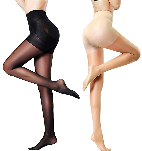 86eb7602d MERYLURE 2 Pairs Women s Semi Opaque Shaping Pantyhose Control Top Push Up Tights  Compression Stockings (
