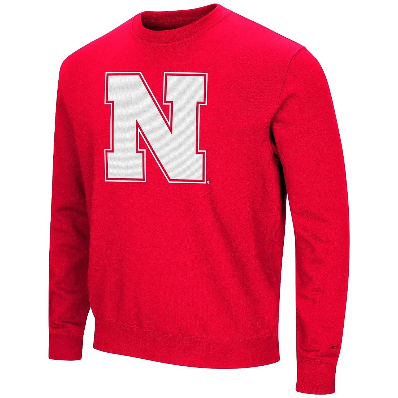 Colosseum NCAA Men's Playbook Crewneck Fleece Sweatshirt Tackle Twill Embroidered Lettering Team Colors