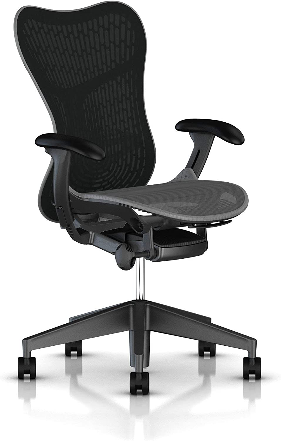 Herman Miller Mirra 2 Task Chair: Tilt Limiter - Adjustable Seat - Adjustable Lumbar Support - Butterfly Back - Adjustable Arms - Graphite Frame/Base - Hard Floor Casters (Renewed)