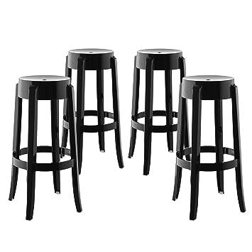 Magnificent Modway Casper Modern Acrylic Four Bar Stools In Black Fully Assembled Customarchery Wood Chair Design Ideas Customarcherynet