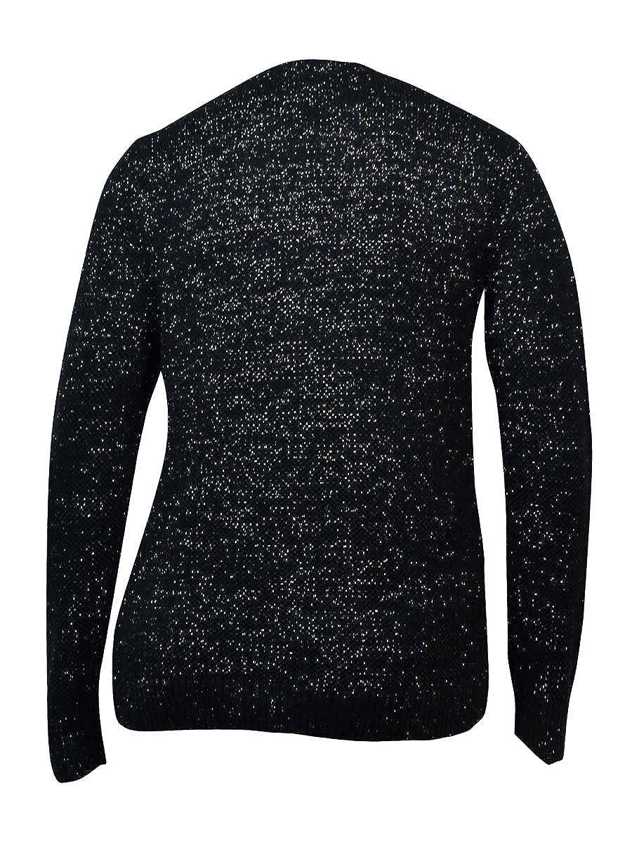 Charter Club Womens Metallic Shimmer Textured Crewneck Sweater