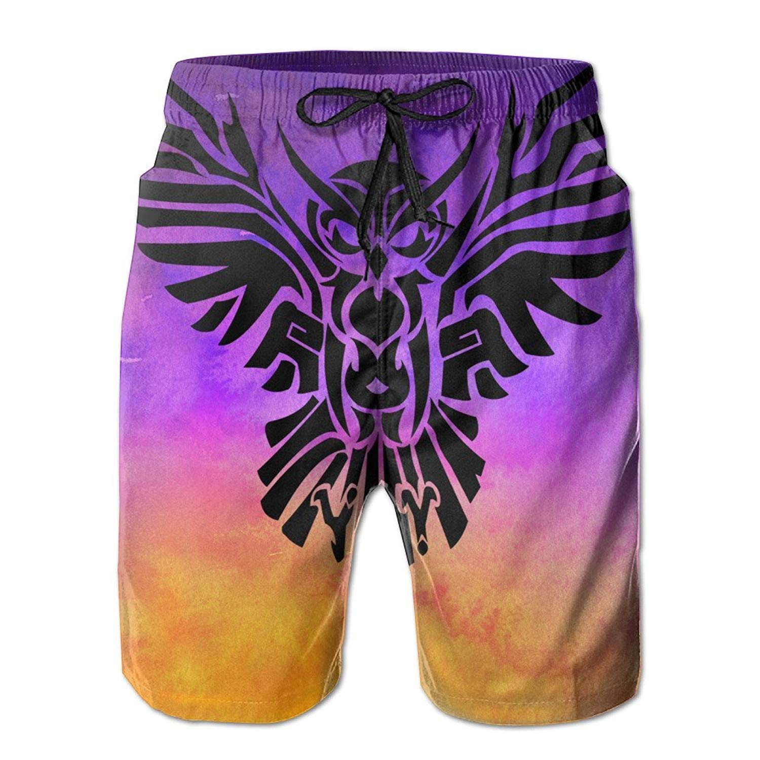 Beach Shorts Mens Tribal Owl Tattoo Personalized Special Summer Quick-Drying Swim Trunks Cargo Shorts,XL