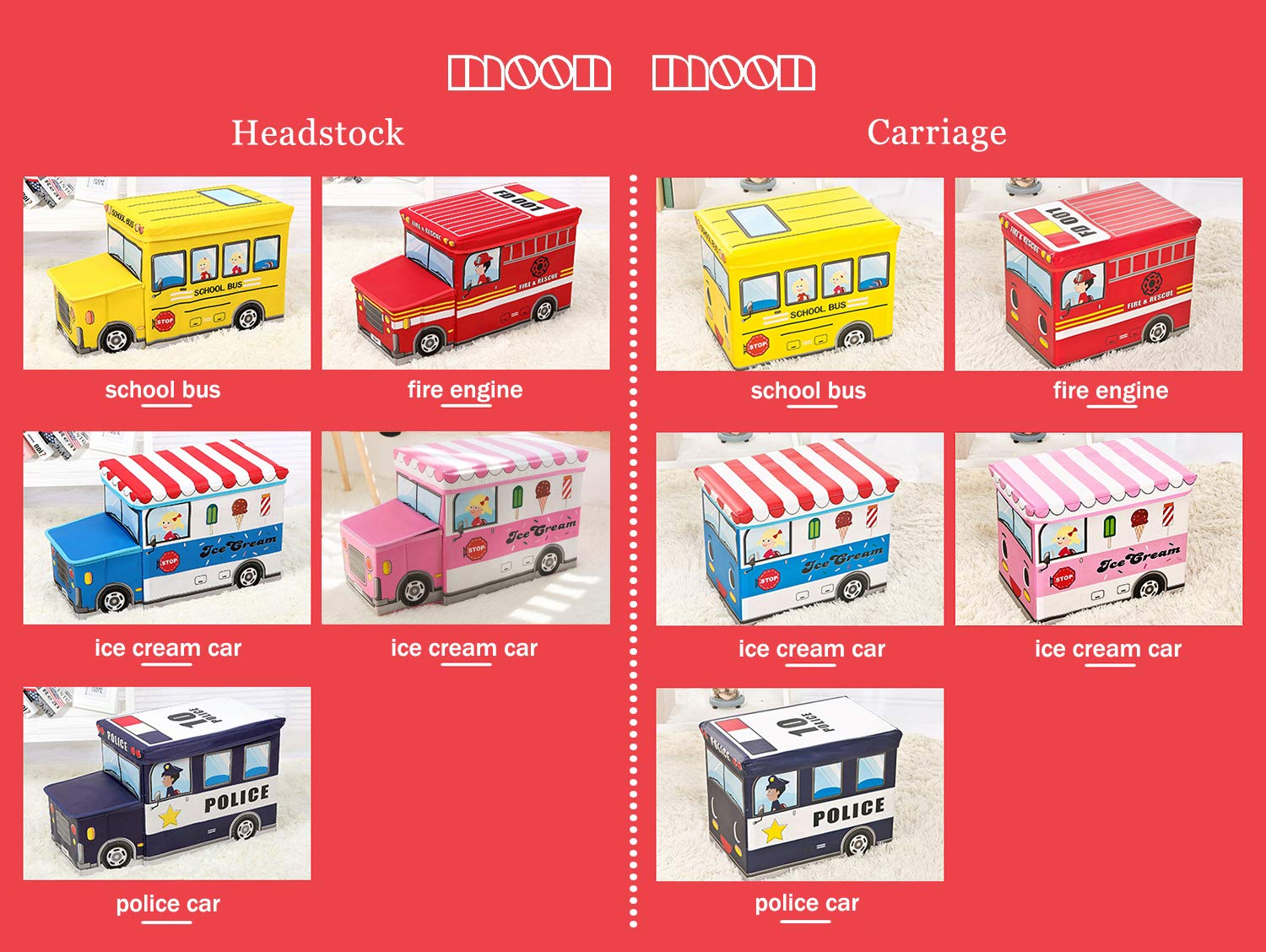 Moon Moon Kids Collapsible Toy Storage Organizer, Toy Box Combination Folding Storage for Kids Bedroom, Kids Toys, Folding Stool, Storage Stool, Creative Collection ,Two Piece Set,Fire Truck