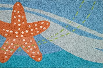 Jellybean Indoor Outdoor Machine Washable Starfish Rug