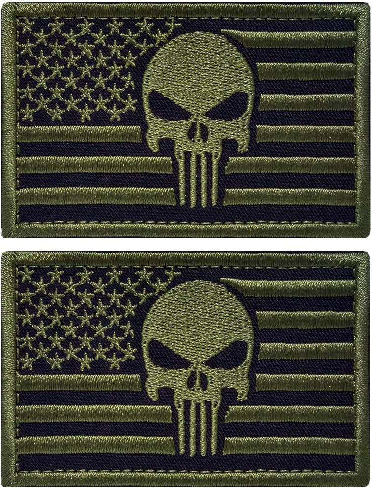 Brown 2 Pieces Tactical US American Flag Patch Military USA United States of America Uniform Emblem Patches