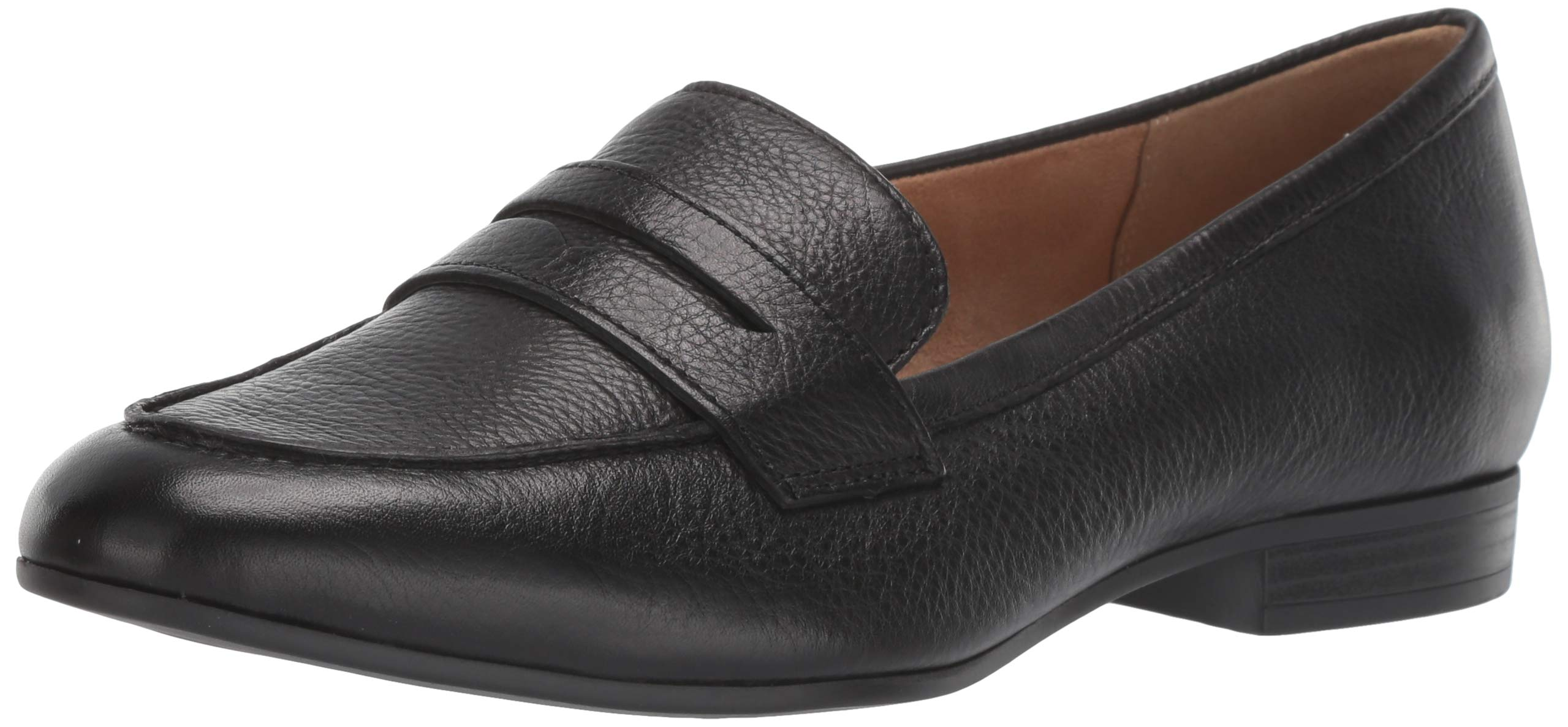 Naturalizer Women's Juliette Loafer Flat, Black Leather, 8.5 W US by Naturalizer