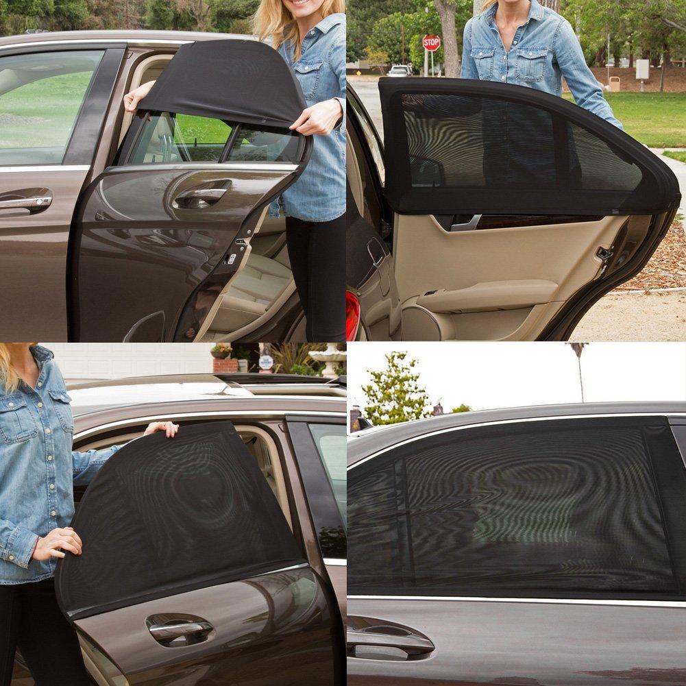 2Pcs Universal Car Side Window Sun Shade Breathable Mesh Sun Shield UV Rays Protection Auto Vehicle Trucks SUV Rear Window Curtain Folding Sun Visor Net Protector Cover For You Baby and Family Agains