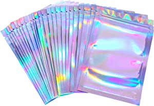 100 Pieces Resealable Smell Proof Bags Foil Pouch Bag Flat Storage Bag for Party Favor Food Storage(Holographic Color,6 x 7 Inch)