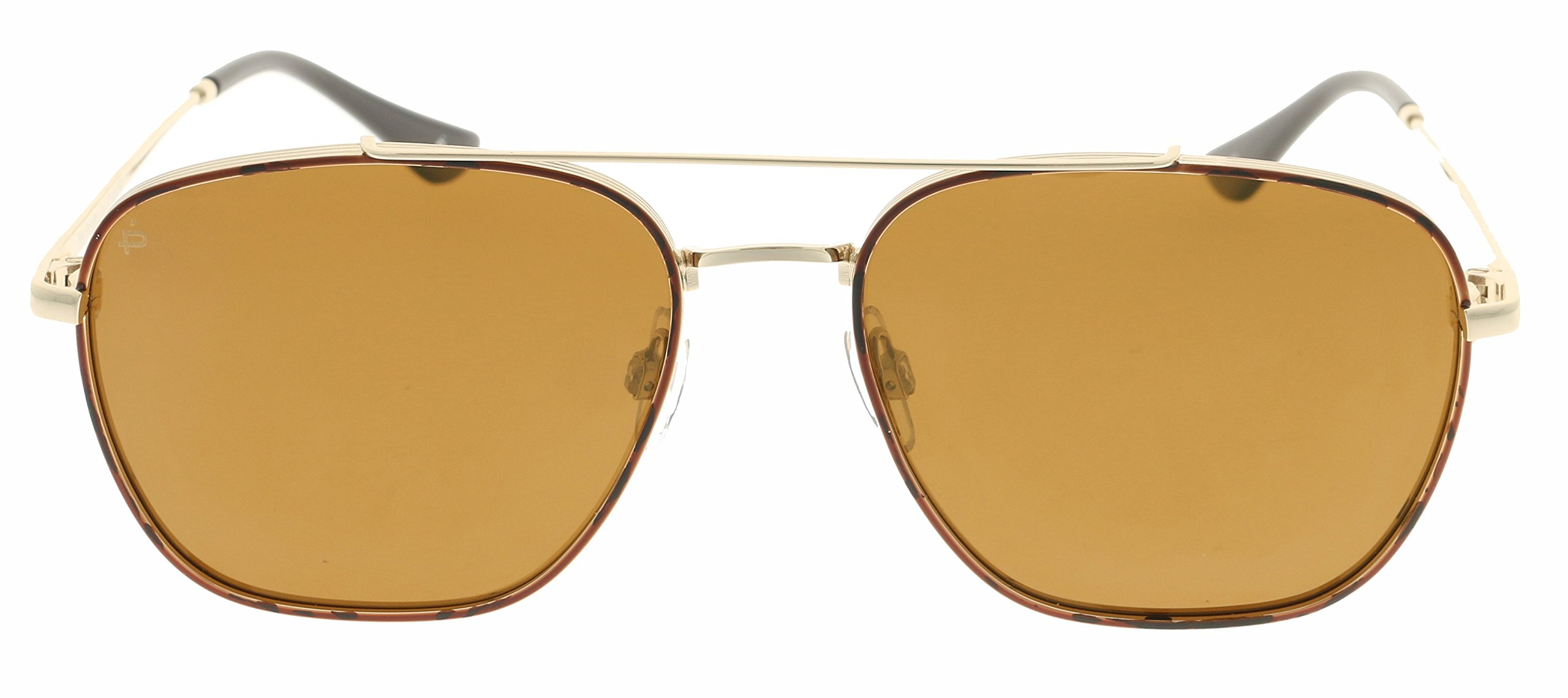 PRIVÉ REVAUX Places We Love Collection''The Floridian'' Polarized Handcrafted Designer Square Sunglasses (Brown)