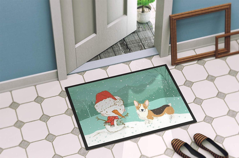 Carolines Treasures Tricolor Pembroke Corgi Snowman Christmas Door Mat Multicolor