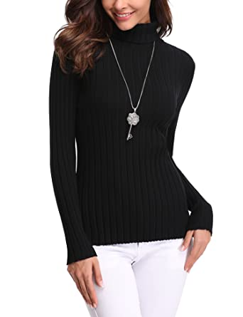 9dbb6ee3446 Abollria Womens Turtle Neck Long Sleeve Chunky Knit Ribbed Sweater Jumper  Knitwear Top  Amazon.co.uk  Clothing