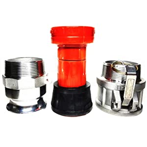 SAFBY Fire Hose Nozzle 2 Inch NPSH/NPT Thermoplastic Fire Equipment Spray Jet Fog with 2 Inch Aluminum Female and Male Fitting