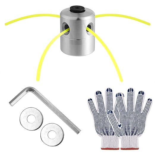 FEPITO Cabezal Desbrozadora Universal con Repuestos, Cabezal de Aluminio y Hilo Desbrozadora, Guantes de Trabajo Antideslizantes