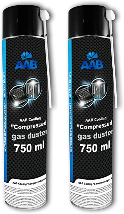 2 x AAB Botella de Aire Comprimido 750ml para Limpiar Teclados, Ordenadores, Copiadoras, Cámaras, Impresoras y Otros Equipos Eléctricos, Soplador de ...