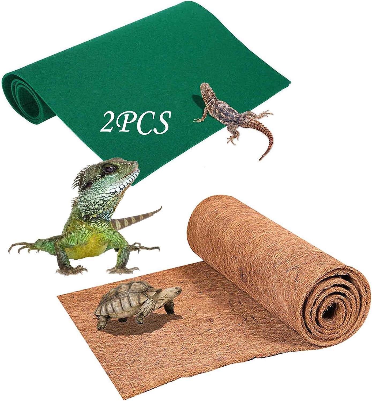 PINVNBY Reptile Carpet Lizard Natural Coconut Fiber Substrate Liner Pads Pet Plush Habitat Mat Terrarium Supplies for Bearded Dragon,Snake Bedding 2 Sheets Gecko,Tortoises,Tortoise and Chameleons