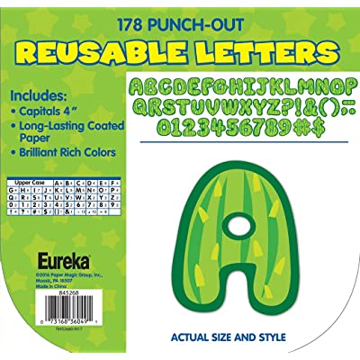 Eureka Cactus Themed Punch Out Letters for Classroom Decoration, 178pc, 4'' H, A Sharp Bunch Cactus Letters (845268) : Office Products