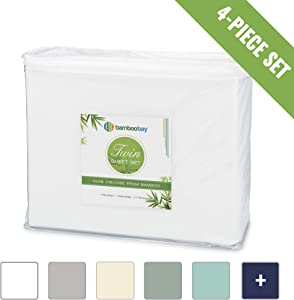 100% Viscose from Bamboo Sheets - Cooling, Soft 4-Piece Twin Bamboo Sheet Set - Extra Deep Pocket, No-Slip Fitted Sheet - Comfy and Breathable Bamboo Sheets (Twin, White)
