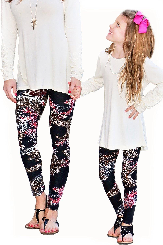 dfcb40763fa2 Amazon.com: Mayah Kay Fashion boutique Mommy & Me Pink & Black Paisley  Leggings: Clothing