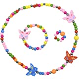 SmitCo LLC Jewelry For Kids, Little Girls, Toddlers - Stretch Butterfly Necklace, Ring, Bracelet Set