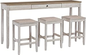 Signature Design by Ashley Skempton Counter Height Dining Room Table and Bar Stools (Set of 3), White/Light Brown