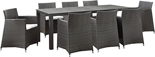 Modway Junction Wicker Rattan 9-Piece Outdoor Patio Dining Set