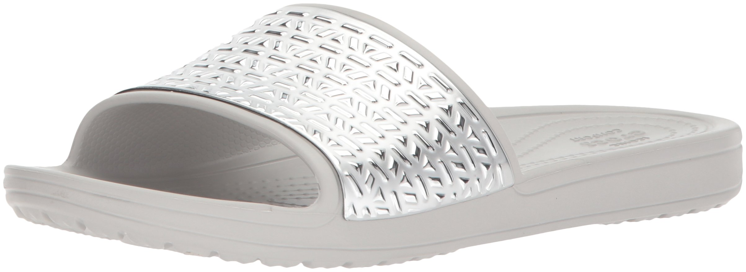 Crocs Women's Sloane Graphic Etched W Slide Sandal, Pearl White/Silver, 7 M US