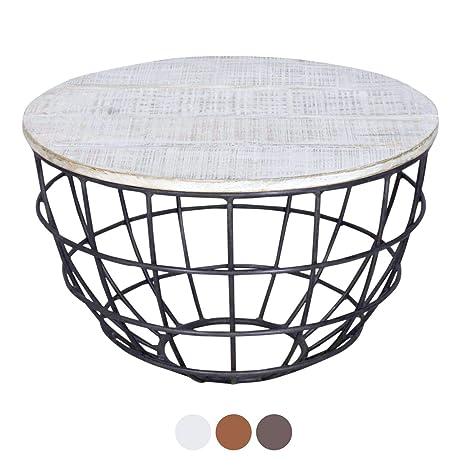 Tisch Rund Metallgestell.Casamia Couchtisch Wohnzimmer Tisch Rund Lexington ø 60 Cm Metall Gestell Altsilber Oder Schwarz Farbe Weiß Gekälkt