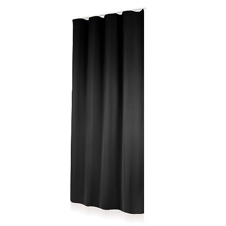 Thermo Vorhang Kräuselband Gardine Blickdicht Lichtdicht BLACKOUT UNI  schwarz ca. 140x245cm