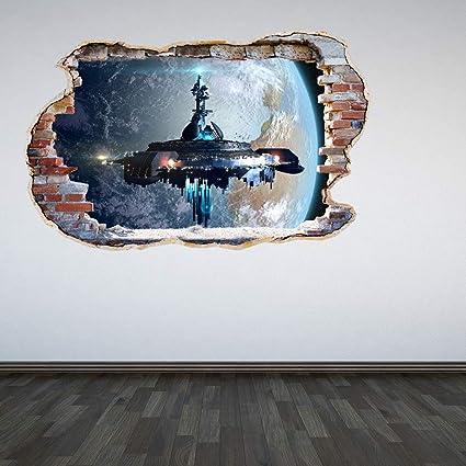 A Pieni Colori Alieno Mothership Parete Distrutta 3d Effetto Spazio Galaxy Camera Da Letto Adesivo Da Parete Decalcomania Cameretta Bambini Decorazioni Large Amazon It Casa E Cucina