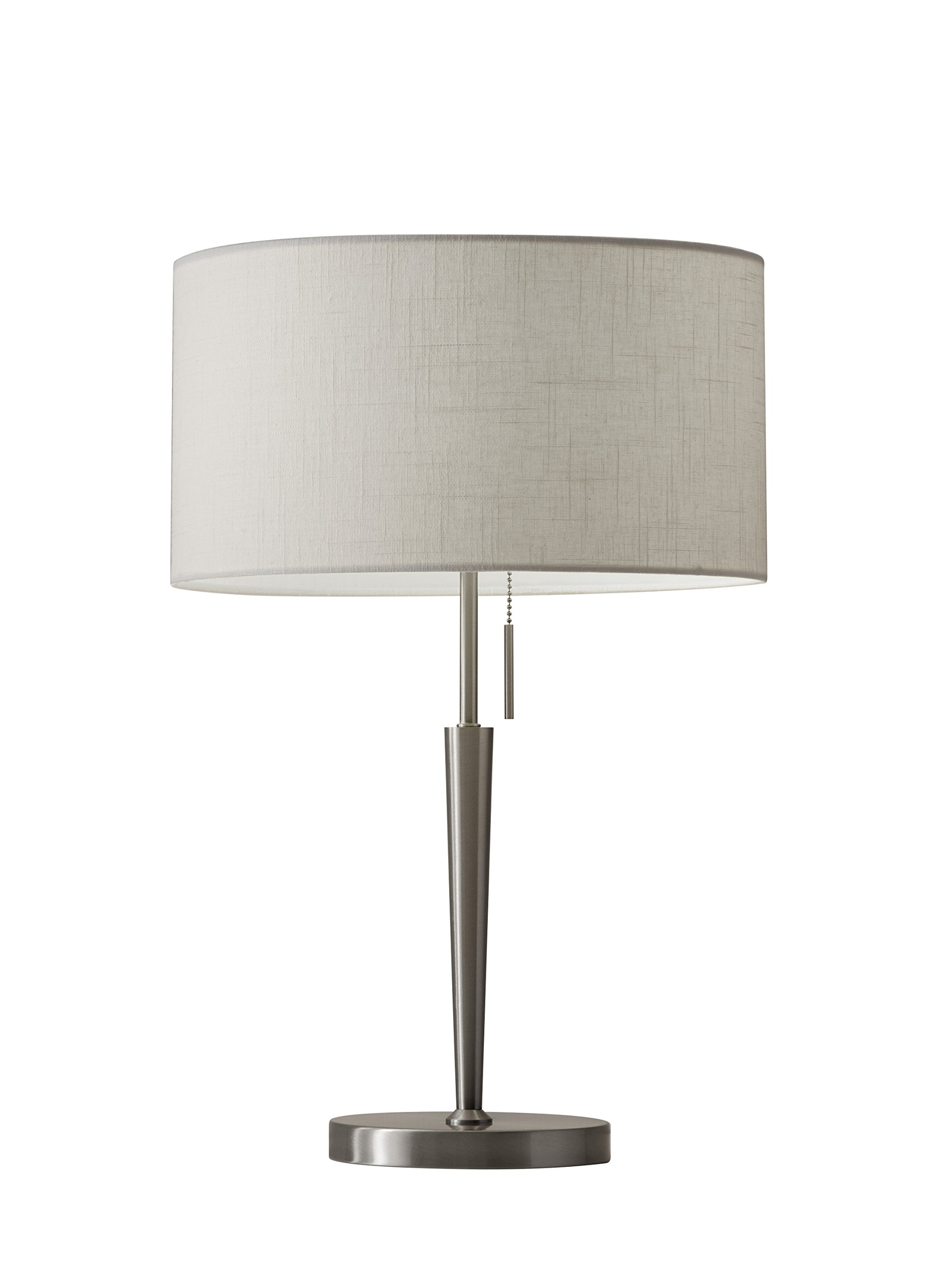 Adesso 3456-22 Hayworth 22'' Table Lamp, Satin Steel, Smart Outlet Compatible
