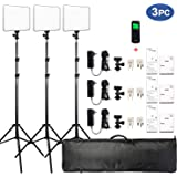 VILTROX Dimmable 3300K-5600K Bi-color Photo Studio LED Video Light Lighting Kit includes: 3x VL-200T LED Light Panel + 3x Hot Shoe Adapter + 3x Light Stand + 3x AC Adapter and 1x Remote Controller
