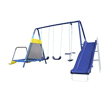 Amazon Com Sportspower Almansor Metal Swing Slide And Trampoline