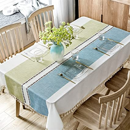 Liveinu Mediterranean Style Table Cloth Rectangular Tablecloth With  Embroidery U0026 Tassels Vintage Furniture Protective Cover Tapestry
