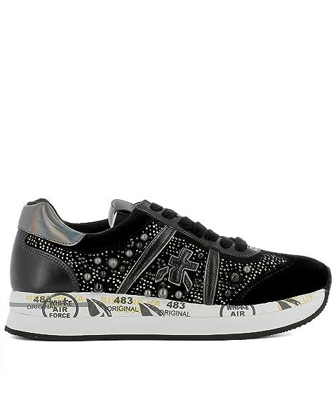Amazon.com   Premiata Womens CONNY1621 Black Velvet Sneakers   Fashion Sneakers