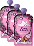 Tiny Spoons Eu Certified Organic Baby Food Puree - 6 Months+ with Plums and Prunes- 120 G Each- Pack of 3
