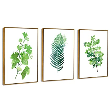Hepix Canvas Wall Art Tropical Leaves Canvas Print Framed Wall Paitings Wrapped Real Wood Modern Home Decorations For Bedroom Living Room Bathroom 24