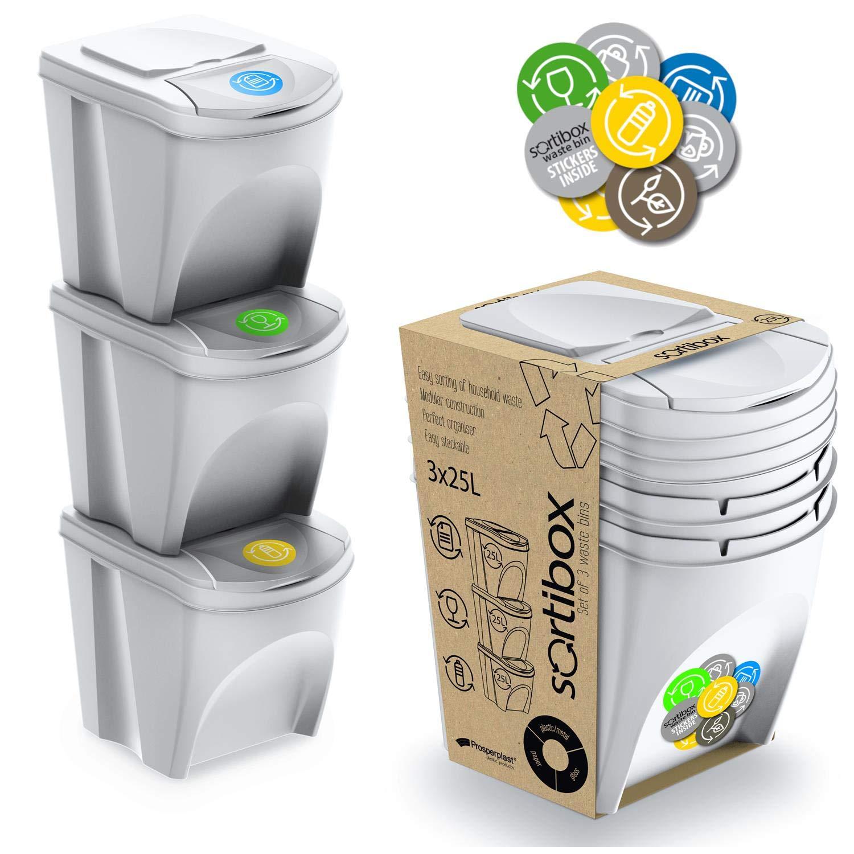 Prosperplast ZA852 - Juego de 3 Cubos de Reciclaje, Plástico, 25 L, 24 x 40 x 33.7 cm, Color Blanco