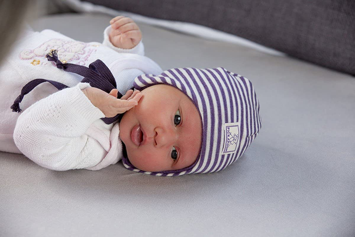 PICKAPOOH Hat MERINO wool SILK Baby Girl Boy Newborn Bonnet Natural Organic Grey Paula
