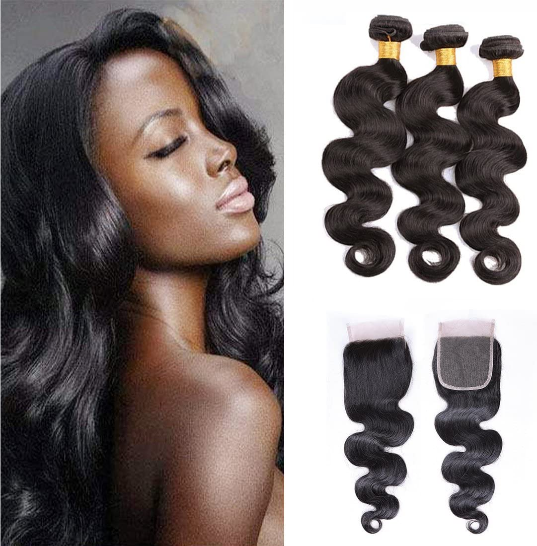 Brazilian Hair Bundles With Lace Frontal Body Wave Virgin Hair 3 Bundles Silk Lace Closure Transparent Real Human Weave Hair Extensions Natural Hair ...