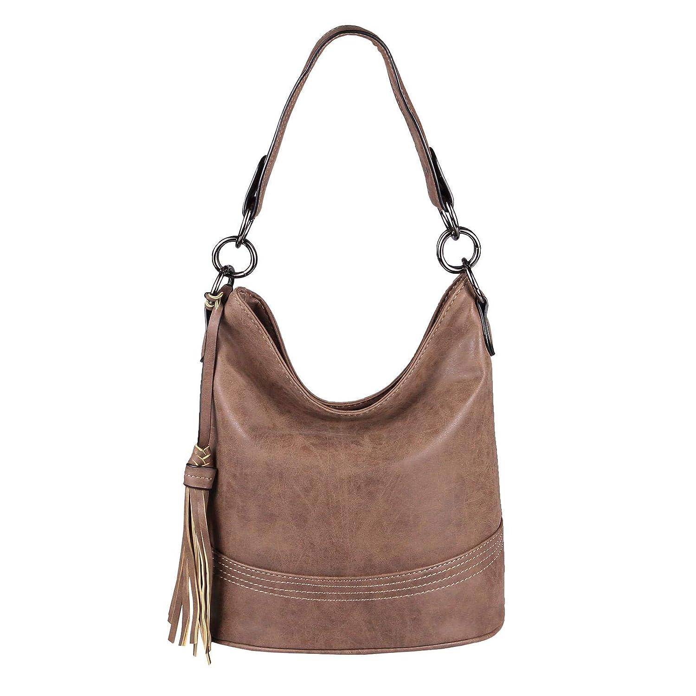 OBC Damen Tasche Hobo-Bag Shopper Umhängetasche Handtasche Leder Optik Schultertasche Schultertasche Schultertasche Henkeltasche Beuteltasche Crotver Tote-Bag (Dunkelbraun.) B07JR58PWS Shopper Nutzen Sie Materialien voll aus 5101d5