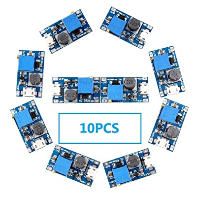 Eiechip MT3608 Mico USB DC Voltage Regulator Step Up Boost Converter Power Supply Module 2V-24V to 5V-28V 2A (Pack of 10): Electronics