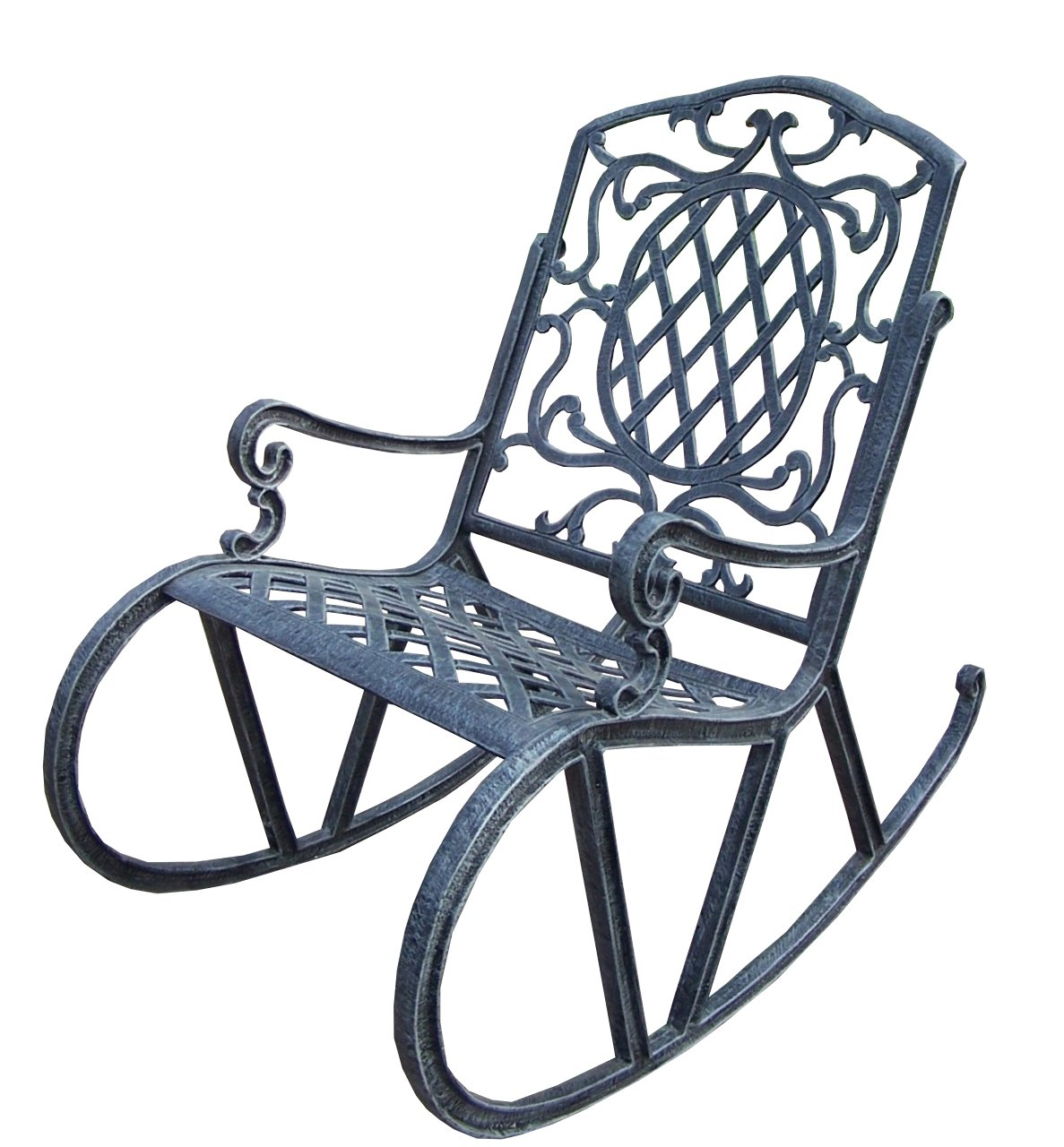 Oakland Living Mississippi Cast Aluminum Rocking Chair - Rust Free Cast Aluminum Construction Hardened Powder Coat Finish in Verdi Grey for Years of Beauty Easy to Follow Assembly Instructions and Product Care Information - patio-furniture, patio-chairs, patio - 71vnEnRamHL -