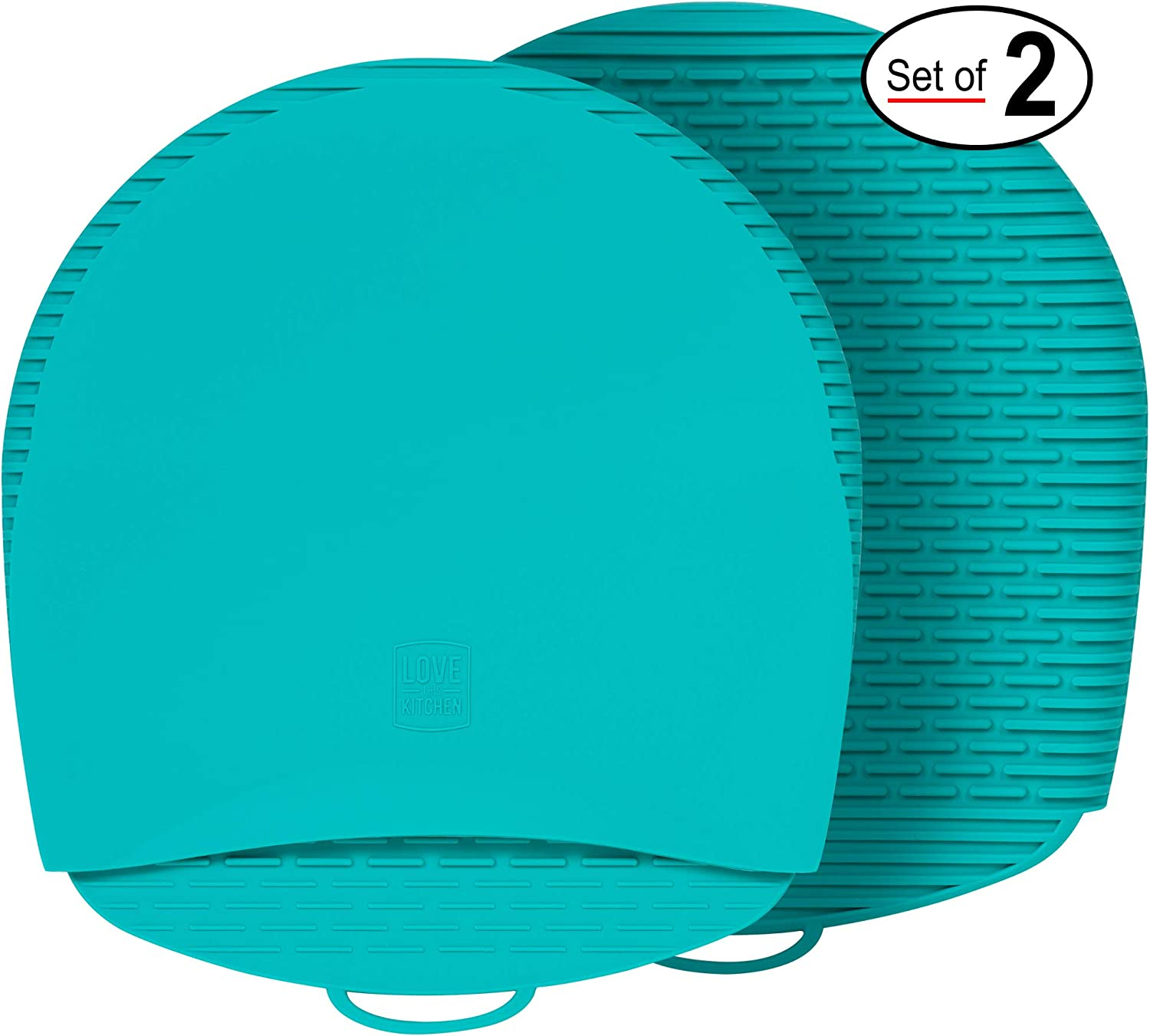 New for 2020! 100% Silicone Pot Holders & Oven Mitts. A Silicone Mitt is Healthier Than Cotton & Easier to Clean, Won't Grow Mold or Bacteria. Heat Resistant, Non-Slip & Flexible (Teal, 1 Pair)