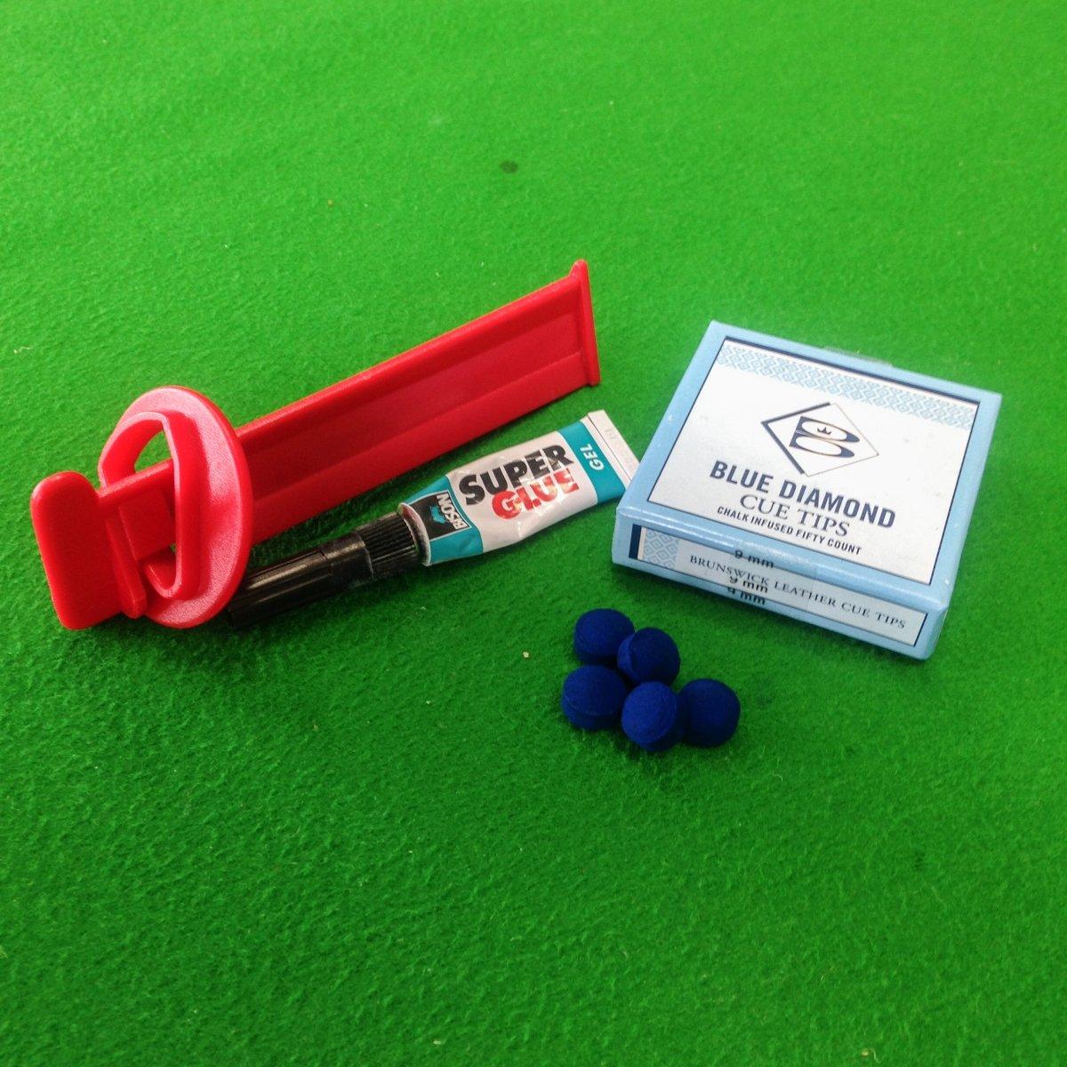 Pointe diamant bleu Billard, de serrage et Bison Super Kit de valeur Colle