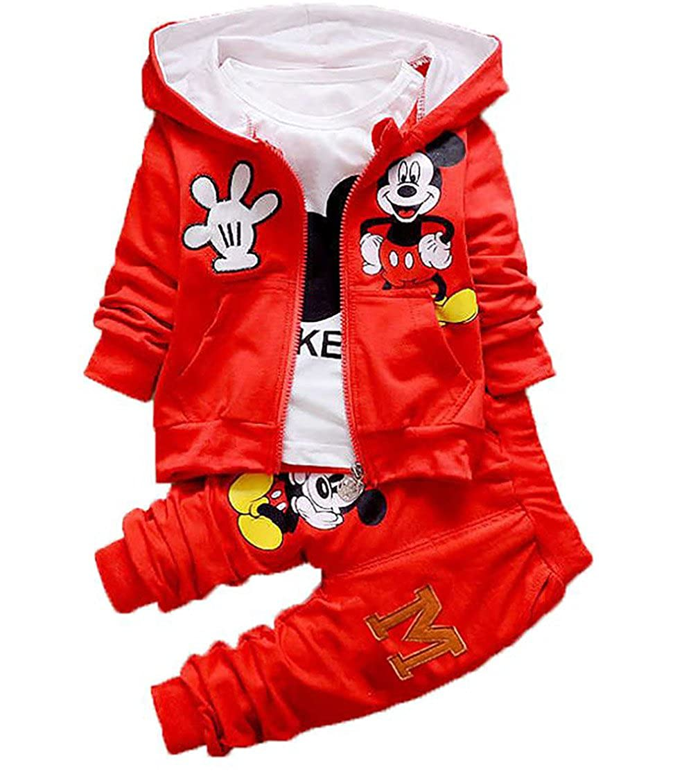 SOPO Baby Boys 3 Pc Suit Cute Mickey Casual Fashion Hoodie Clothes 9-36m Red China