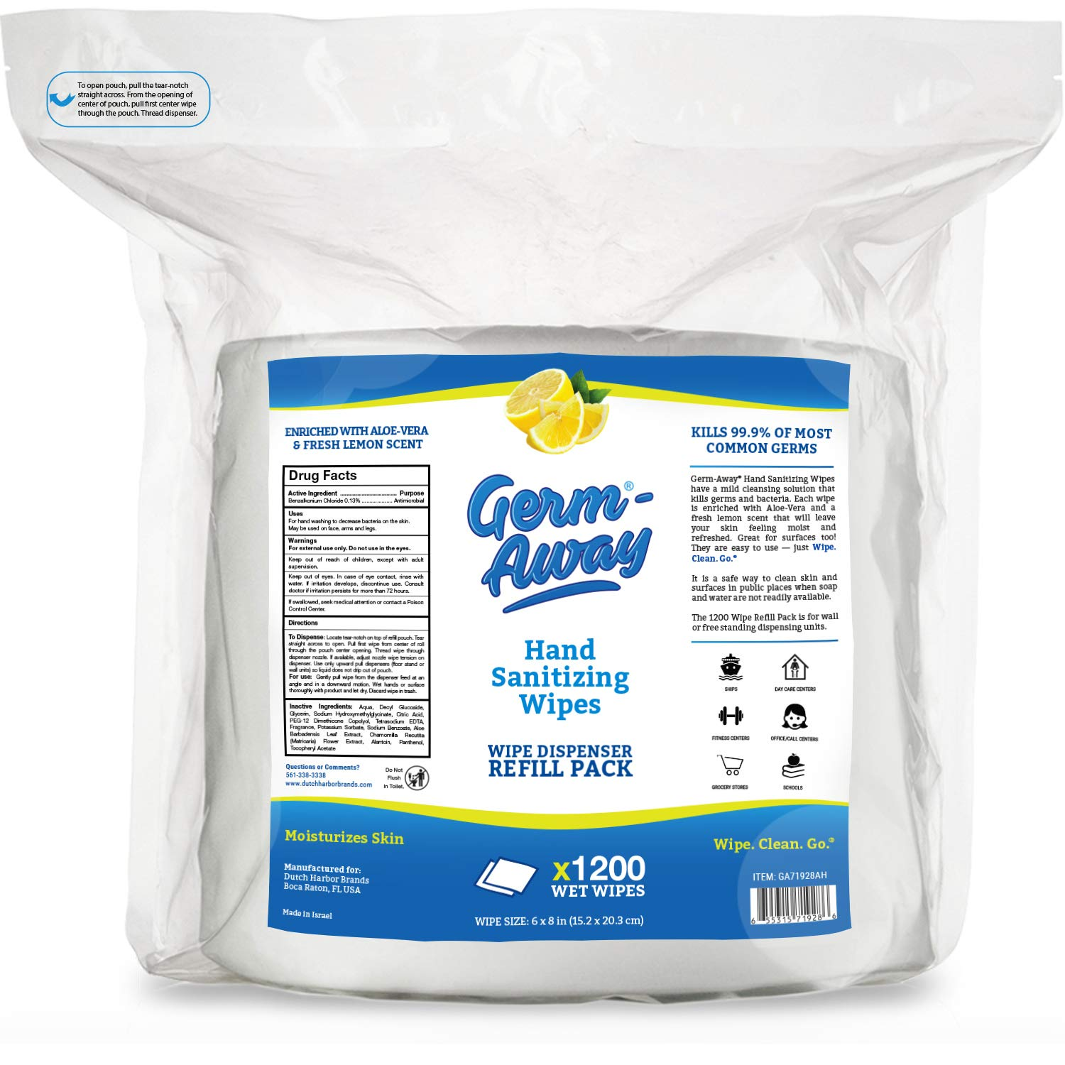 Germ-Away Antibacterial Hand Wipes, 1200 CT Refill Bag, Moisturizing & Lemon Scent, Refills are Compatible with/Replacement for Purell Dispensers, Model 9019-01 & Wipex Dispensers