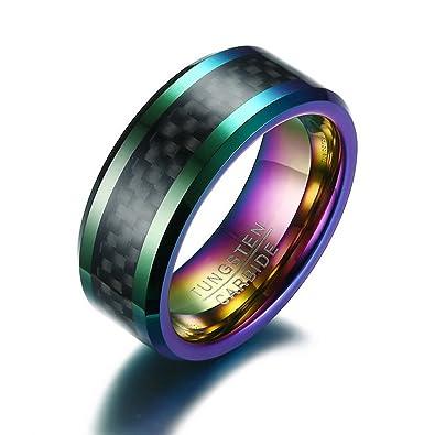b248565da2106 Amazon.com: Gemmart Tungsten Men Ring with Carbon Fiber 8mm Male ...